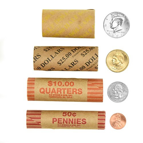 240 Coin Wrappers Made In USA - Preformed Paper Tubes - Assorted Sizes - 100 quarters, 100 pennies, 20 dollar and 20 Half (Preformed Paper Tubular Coin Wrappers)