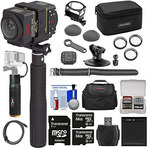 KODAK PIXPRO SP360 4K HD Wi-Fi Video Action Camera Camcorder Dual Pro Pack & Remote & Action Mounts + 2 64GB Card + Battery + Case + 6000mAh Grip Kit