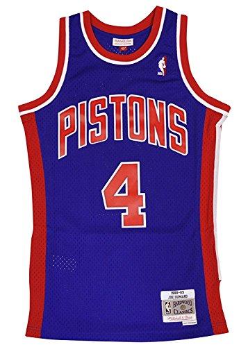 (Mitchell & Ness Detroit Pistons Joe Dumars Swingman Jersey NBA Throwback Blue)