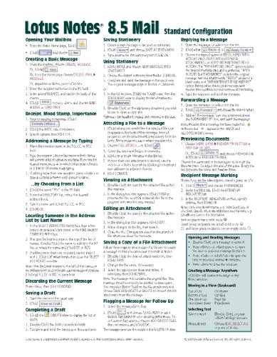 Lotus Notes 8.5 Mail Quick Reference Guide (Cheat Sheet of Instructions, Tips & Shortcuts - Laminated Card)