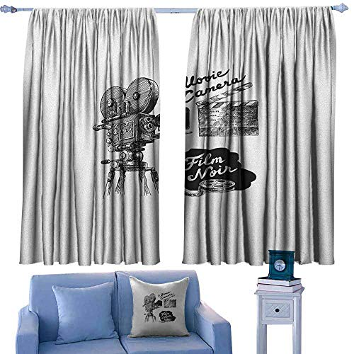Small Window Curtains,Movie Theater Antique Movie Camera Hand Drawn Style Art Collection Film Noir Genre Theme,for Patio/Front Porch,W55x72L Inches Black White ()