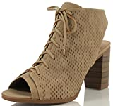 City Classified Women's Wallet Lace Up Back Cutout Stacked Heel Ankle Bootie, Taupe, 75 M US