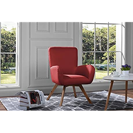 Mid Century Modern Living Room Chair Accent Armchair Red