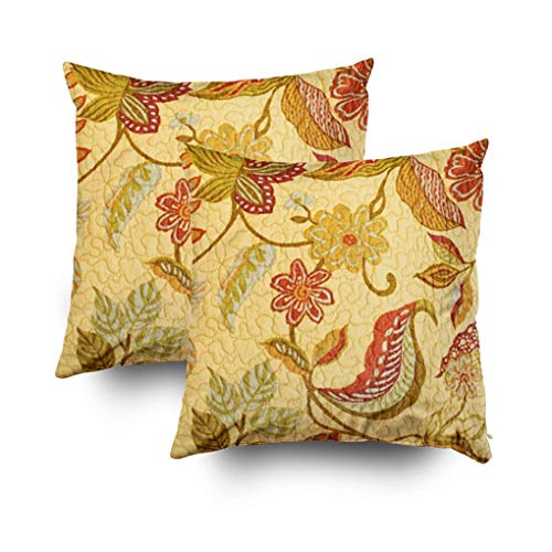 Shorping Zippered Pillow Covers Pillowcases 18X18Inch 2 Pack French Floral Leaf Country Quilt Print Decorative Throw Pillow Cover,Pillow Cases Cushion Cover for Home Sofa Bedding (Print Floral Couch)