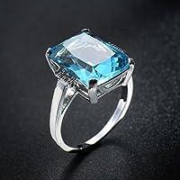 LALISA Women Fashion 925 Silver Emerald Cut Blue Aquamarine Wedding Jewelry Ring Sz5-12 (9)