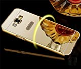 nKarta (TM) Branded Luxury Metal Bumper Acrylic PC Mirror Back Mobile Cover Case For Samsung Galaxy Grand i9082 / Samsung Galaxy Grand Neo - Gold Plated
