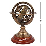 Ares India 9'' Nautical Brass Armillary Sphere World Globe Rosewood Base Table Decor Gift
