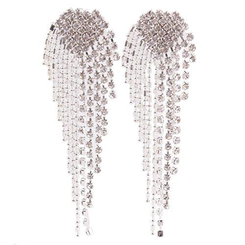 Grace Jun New Style Large Tassel Clip on Earrings Without Piercing Rhinestone Statement Earrings (200) (Large Clip On Earrings)