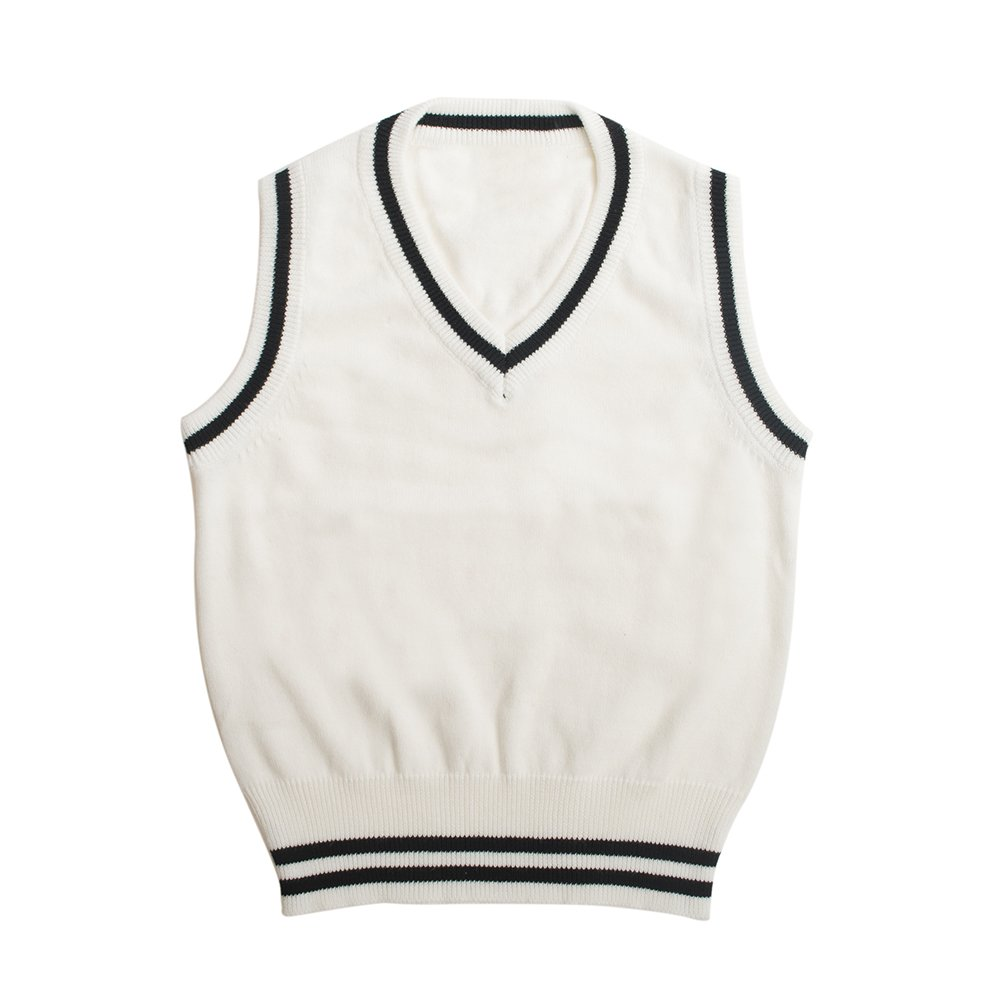 TopTie Boys V-Neck Knitted Sleeveless Pullover Uniform Sweater Vest with Stripe