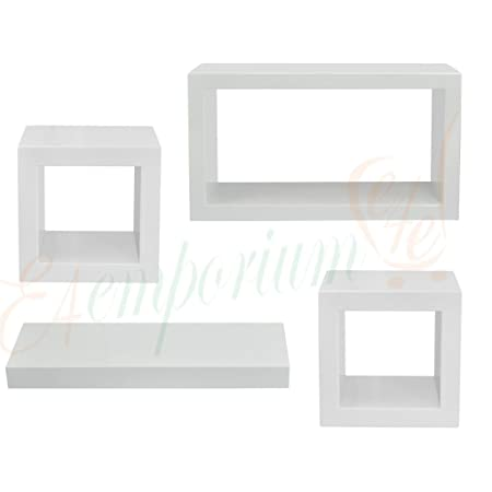 SQUARE CUBICAL WOODEN WALL MOUNTED FLOATING SHELVES PACK OF 40 Unique White Square Floating Shelves