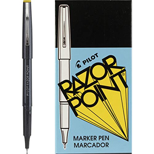 Pilot Razor Point Marker Stick Pens, Ultra Fine Point, Black Ink, Dozen Box (11001)