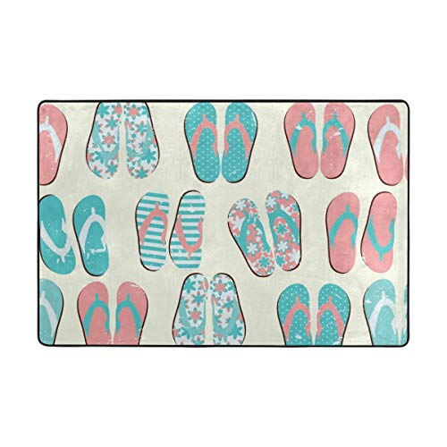 ALAZA Flip Flops Beach Sandal Area Rug 4 x 6 Feet, Living Room Bedroom Decorative Lightweight Foam Rug