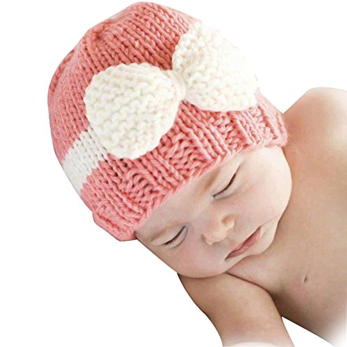 [Baby Knitting Hat, Malltop Newborn Infant Soft Knit Wool Crochet Bow-knot caps For 0-1Y (Pink)] (Joe Child Costumes Gloves)