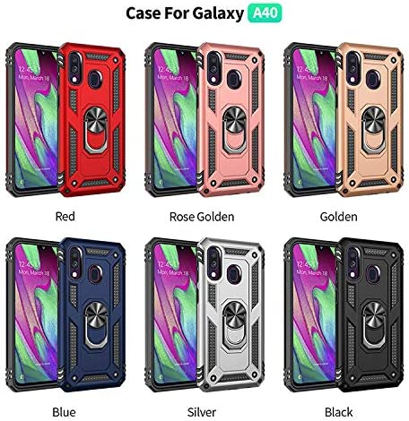 +3D Tempered Glass Screen Protectors//Cover 360 Full Body Military-Grade Anti-Drop Bumper Protective Mobile Case with Kickstand-Silver XJZ Compatible with Samsung Galaxy A40 Smartphone Case 2019