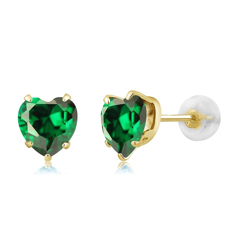 1.48 Ct Heart Shape 6mm Green Zirconia 10K Yellow Gold Stud Earrings