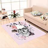 Nalahome Custom carpet Skull and Blooms Catholic Popular Ceremony Celebrating Artistic Vintage Design Soft Salmon White area rugs for Living Dining Room Bedroom Hallway Office Carpet (6' X 9')