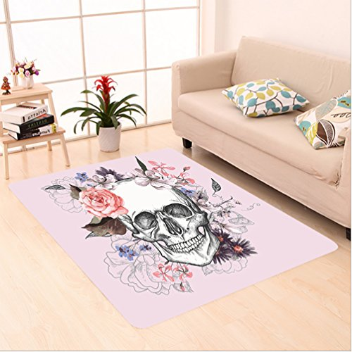 Nalahome Custom carpet Skull and Blooms Catholic Popular Ceremony Celebrating Artistic Vintage Design Soft Salmon White area rugs for Living Dining Room Bedroom Hallway Office Carpet (2' X 4') by Nalahome