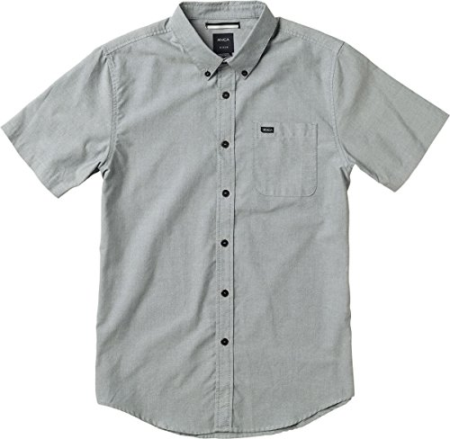 RVCA Men's That'll Do Oxford Short Sleeve Woven Shirt, Pavement, Large by RVCA