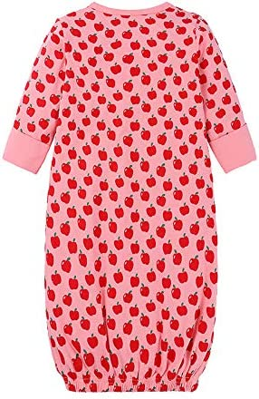 Mubineo Newborn Infant Baby Girl Floral Print Cotton Sleeper Gown with Headband Outfits