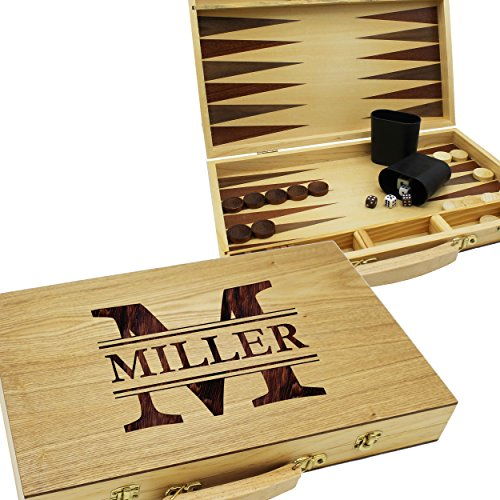 Custom Personalized Backgammon Gift Set - Wood Game Board Engraved for Mother Father Gift - Monogrammed for (Personalized Memory Game)