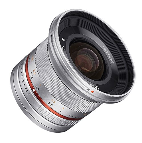 Samyang SY12M-E-SIL 12mm F2.0 Ultra Wide Angle Lens for Sony E Cameras, Silver by Samyang