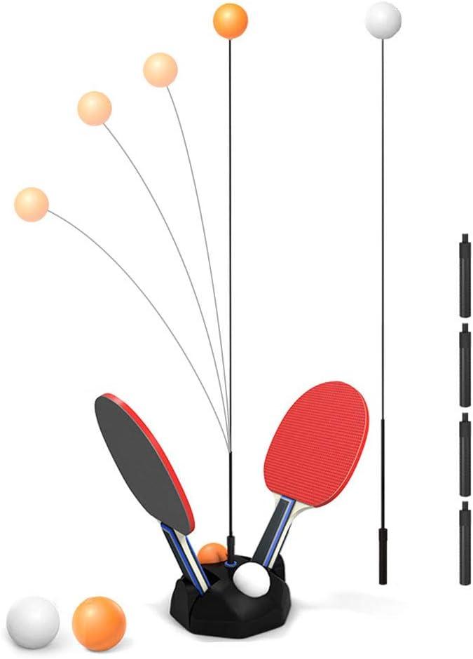 WZTO Ping Pong Table Tennis Trainer Equipo de Entrenamiento Kit, Vision Training Altura Ajustable 2 pcs Elastic Rod 90CM y 4 pcs Postes de Ajuste, para Deportes de Descompresión para Adultos y Niños