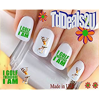 Amazon Sports Golf I Golf Therefore I Am Nail Decals