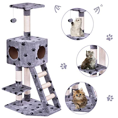 Tangkula Cat Tree Pet Furniture Multi-Level Kitty Tree with Sisal-Covered Scratcher Slope, Plush Perches, Scratching Posts and Condo Home, Activity Centre Cat Tower - for Kittens, Cats (Grey with Paw)