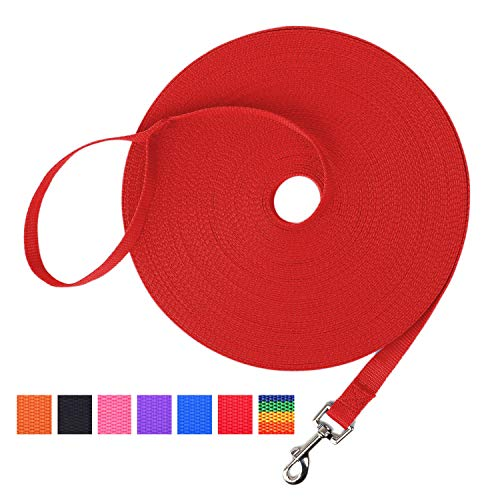 Hi Kiss Dog/Puppy Obedience Recall Training Agility Lead - 15ft 20ft 30ft 50ft 100ft Training Leash - Great for Training, Play, Camping, or Backyard (20 Feet, Red) from Hi Kiss