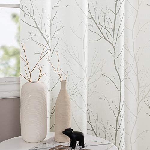 jinchan Grey Curtains for Living Room Floral Tree Branch Pattern Grommet Top Retro Window Drapes for Bedroom 2 Panels 50 W x 95 L