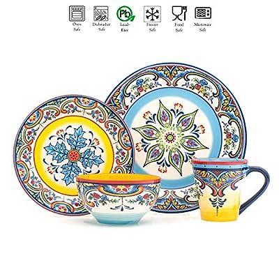 Euro Ceramica Zanzibar Collection Vibrant 16 Piece Oven Safe Stoneware Dinnerware Set, Service For 4, Spanish Floral Design, Multicolor