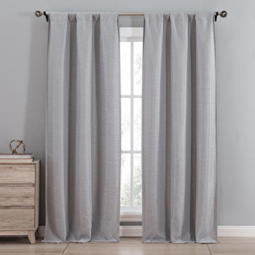 Mettalic Herringbone Insulated Energy Saving Blackout Window Rod Pocket Curtains 38 inch Wide by 84 Long (Assorted Colors) Set of 2 Panel Room Darkening Drapes - Grey