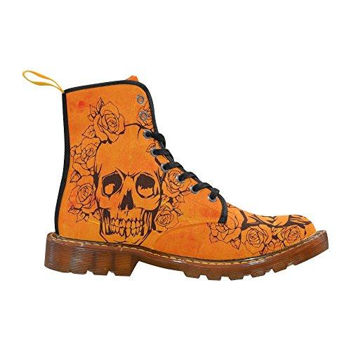 Leinterest Skull With Roses, Orange Martin Boots Moda Scarpe Da Uomo