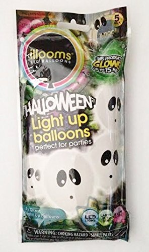 """Halloween LED Light Up 9"""" Balloons - Ghosts (Pack of 5 Balloons)"""