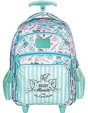 Mala Com Rodas 16 Marie Posh Cat (Mini Teen) 8530 - Artigo Escolar Marie, Azul Claro