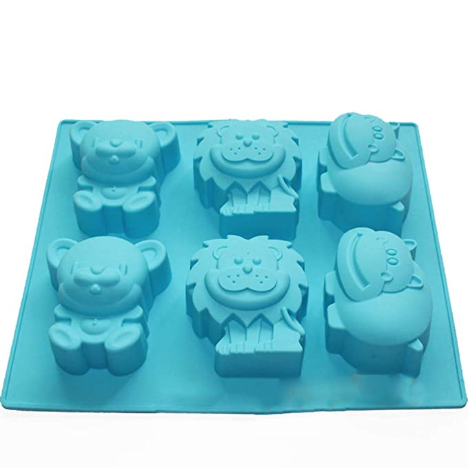 X-Haibei Jungle Zoo Animales pastel de chocolate gelatina jabón Moldes de silicona (Making Niños Favor: Amazon.es: Juguetes y juegos