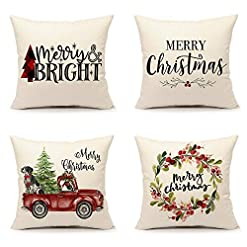 Christmas Farmhouse Home Decor 4TH Emotion Christmas Pillow Covers 18×18 Set of 4 for Farmhouse Decorations Winter Holiday Throw Cushion Case (Merry… farmhouse christmas pillow covers