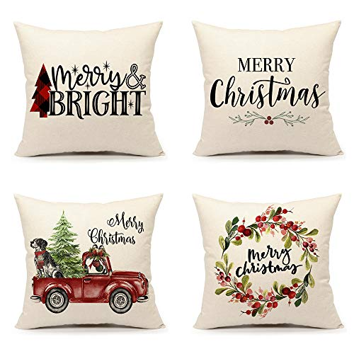 4TH Emotion Christmas Pillow Covers 18x18 Set of 4 for Farmhouse Home Decor Winter Holiday Throw Pillow Case Cushion Cover