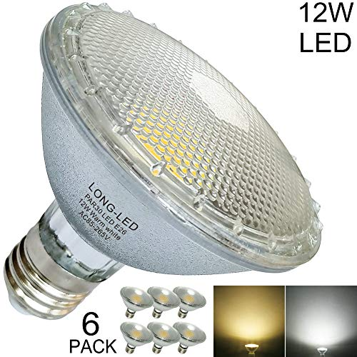 Short Neck Classic Glass PAR30 LED Bulb Flood Light 12W=60W-100W PAR30 Halogen Bulb Equivalent,120-Volt,LED Warm White/Soft Light 2700K-3000K CRI80,Waterproof,Indoor/Outdoor Fixture,42-Degree