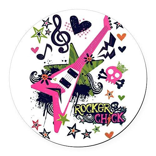Round Car Magnet 5.5 Inch Rocker Chick Guitar Treble Clef