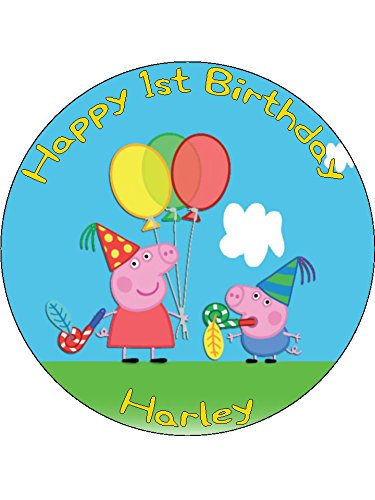 Strange Peppa Pig 7 5 Round Personalised Birthday Cake Topper Printed On Funny Birthday Cards Online Overcheapnameinfo