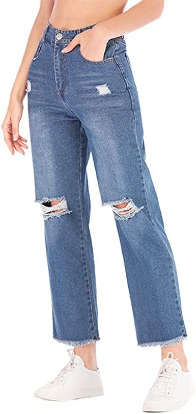 Vaqueros Rectos Para Mujer Rotos Pantalones De Mezclillade Suelto Y Transpirable Pantalon Casual Moda Jeans Para Mujer Otono Slim Fit Baggy Vaqueros Color Solido Anchos Pantalones Amazon Es Ropa Y Accesorios