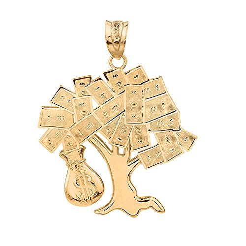 Solid 10k Yellow Gold USD Dollar Money Bag Treasure Tree Pendant by Hip Hop Jewelry