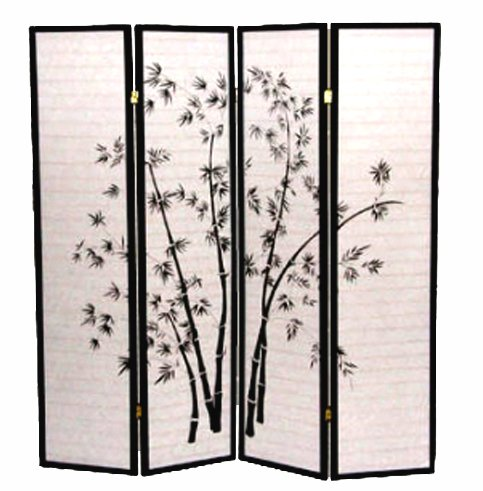 Amazon Com Legacy Decor 4 Panel Black Bamboo Print Oriental Shoji Screen Room Divider Kitchen Dining
