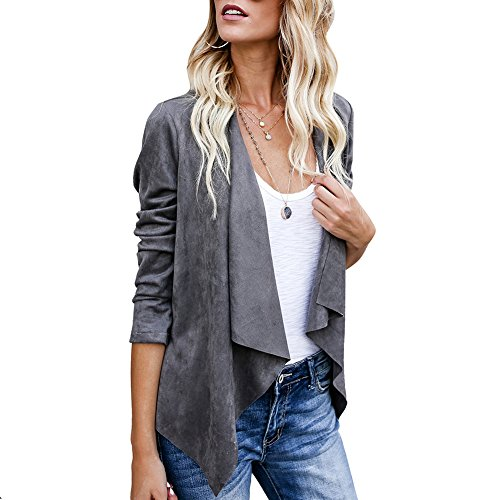 Elfremore Lightweight Jackets Faux Suede Short Jacket Biker Coat Lapels (Suede Jackets For Women)
