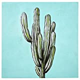 Rivet Modern Blue and Green Cactus Print on Canvas, 40'' x 40''