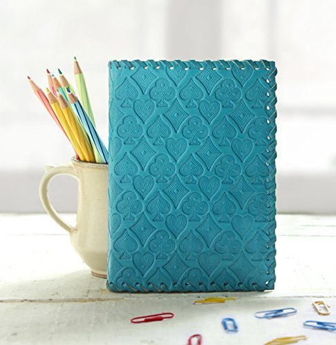 (storeindya Leather Journal Writing Notebook - Leather Bound Daily Notepad with Unlined Pages 7 x 5 inches for Men Women Art Sketchbook (Playing Card Motif - BLUE) to Write in - Great Mother's Day Gift)