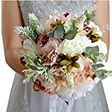 Geoffroy Christian Handmade Wedding Bouquets Camelliae Leaves Lace Ribbon Bridal Bouquets (Style F)
