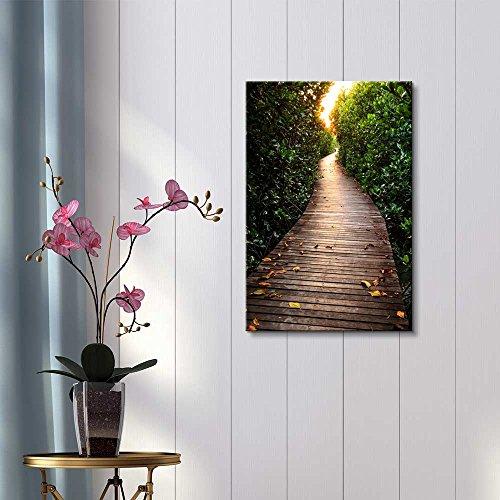 Beautiful Scenery Landscape Wooden Bridge in Mangrove Forest Wall Decor