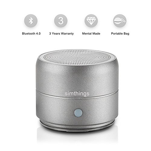 simthings Portable Mini Bluetooth Speaker with Enhanced Bass, Loud HD Sound Rechargeable Wireless Speakers for Smart Phone/iPad/iPod, Caribiner Clip and Hard Travel Bag Included